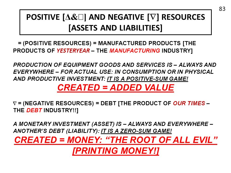 POSITIVE [Δ&] AND NEGATIVE [] RESOURCES [ASSETS AND LIABILITIES]